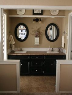 For master bathroom redo--- Black cabinets, warm beige walls and counter, white millwork. Neutral Paint Color, Traditional Bathroom, Bathroom Makeover, Home Decor, House Interior, Black Cabinets, Brown Bathroom, Bathroom Decor, Bathroom Inspiration