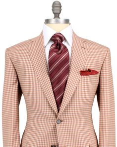 Brioni   Rust and Taupe Plaid Sportcoat   Apparel   Men's