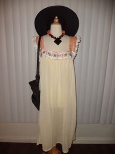 SOLD Vtg Boho Mexican Embroidered 70's Hippy Gauze Like Festival Dress Sz S-L by casadelagitana on Etsy
