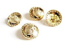 4 boutons hibou en métal doré 25 mm - Bouton à coudre : Boutons par une-histoire-de-mode