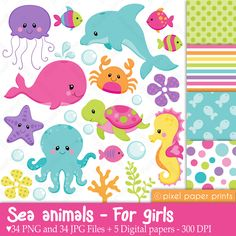Sea animals clipart - Sea animals NEUTRALS - Clip art and digital paper set Girls Clips, Digital Stamps, Digital Papers, Photoshop Elements, Print And Cut, Art Images, Stencil, Illustration, Clip Art