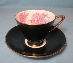 RARE Black with Gold Rim TEA CUP & SAUCER Vintage Royal Stadfford Bone China