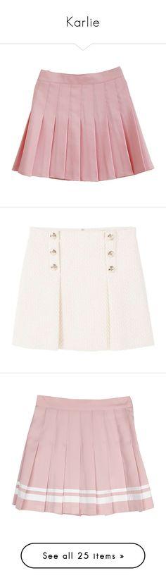 """""""Karlie"""" by belenloperfido ❤ liked on Polyvore featuring skirts, mini skirts, bottoms, short pleated skirt, tartan miniskirts, pleated skirt, pink skirt, plaid mini skirt, white skirt and white knee length skirt"""