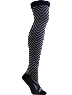 black and white chevron pattern over the knee sock