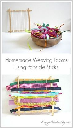 Make mini weaving looms using popsicle sticks! A fun way to use up those scraps of fabric or ribbon and a great way for kids to work on fine motor skills too! Kids Crafts, Craft Stick Crafts, Projects For Kids, Craft Projects, Arts And Crafts, Craft Ideas, Craft Sticks, Ice Lolly Stick Crafts, Popsicle Crafts