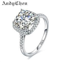 Argent Plaqué Anneaux De Mariage Pour Les Femmes Carré Simulé Diamant Bijoux Bague Bijoux Femme bague de Fiançailles Accessoires ASR035