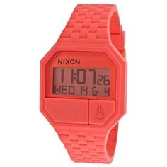 Nixon Women's Re-Run Coral Rubber and Dial (46 CAD) ❤ liked on Polyvore featuring jewelry, watches, coral, coral jewelry, nixon wrist watch, water resistant watches, digital wrist watch and digital watches