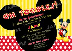 PRINTABLE Mickey Mouse Red/White/Yellow Birthday Invitation -  4x6 or 5x7 Digital File