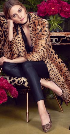 Who made Olivia Palermo's leopard coat, shoes, blue skinny jeans, and handbag?