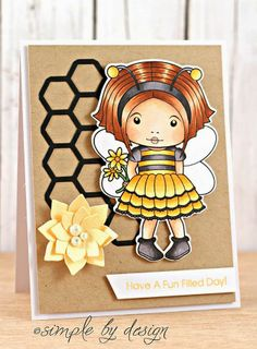 From our Design Team! Card by Joy Taylor featuring Bumble Bee Marci and these Dies - Honeycomb, Build-a-Bee(flower). Shop for our products here - http://lalalandcrafts.com/ Coloring details and more inspiration from our Design Team here - http://lalalandcrafts.blogspot.ie/2014/06/inspiration-monday-making-our-own.html