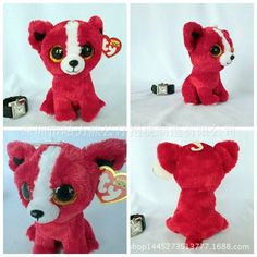 "Beanie Boo Bears Tomato Chihuahua Puppy Animals 6 ""x 6"" Ty Big Teddy Eyes Animals Children's Toys Children's Gift"