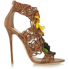 Jimmy Choo Iris embellished macramé leather sandals ($523) ❤ liked on Polyvore