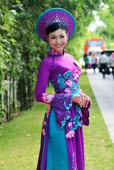 gorgeous purple and blue ao dai