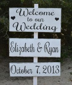 Wedding Decor, Large Wedding Directional Welcome Sign, Ceremony, Personalized Names Date, Wedding Decor, Outdoor Sign, Rustic Wood Signs  www.nautiwoodsigns.com