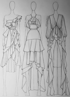 Dress Design Drawing, Dress Design Sketches, Fashion Design Sketchbook, Fashion Design Drawings, Dress Drawing, Fashion Sketches, Fashion Figure Drawing, Fashion Drawing Dresses, Fashion Illustration Dresses