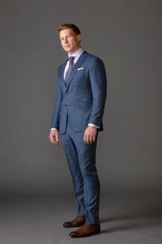 The masculine style according to MAX Mens Fashion Suits, Mens Suits, Men's Fashion, Men Formal, Formal Wear, Tuxedo Shop, Blue Plaid Suit, Blue Tuxedos, Masculine Style