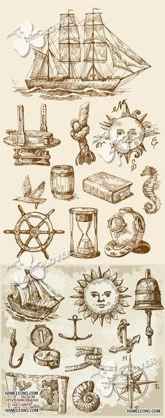 Винтажные символы путешественника в векторе | Vintage nautical symbols vector
