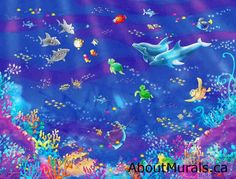 An underwater animated wallpaper mural featuring fish & dolphins. This removable wallpaper ships free worldwide! Have it hung from $149 or DIY in 2 hours.