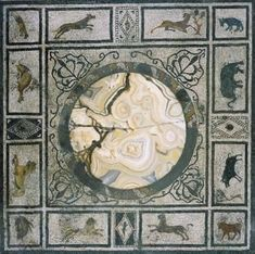 Casa di Paquius Proculus - The tablinum has a fine white mosaic floor with a narrow double black border. In the centre of the floor is a striking panel with a central marble disk surrounded by small scenes of wildlife - Pompei (regio I)