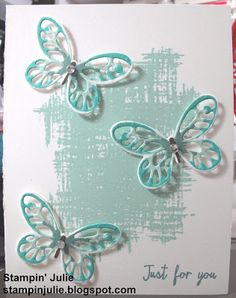 Stampin' Julie- Stampin' Up! Watercolor Wings and You've Got This stamp sets. Pool Party, Lost Lagoon, and Bermuda Bay.