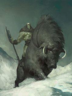 Porco selvagem monstruoso das neves ou Javali gigante da montanha.