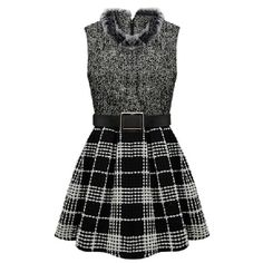 Gray Trendy Ladies Winter Fur Collar Plaid Skater Dress ($31) ❤ liked on Polyvore featuring dresses, vestidos, short dresses, black, grey, gray dresses, mini dress, gray skater dress, gray plaid dress and grey mini dress