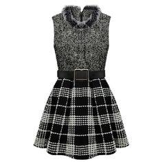 Gray Trendy Ladies Winter Fur Collar Plaid Skater Dress ($39) ❤ liked on Polyvore featuring dresses, vestidos, short dresses, black, grey, gray skater dress, gray dress, black skater dress and grey skater dress