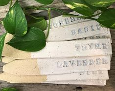 Garden Stakes // Herbs // Large // Handmade // Pottery