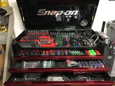 Snap on tool collection and box tools & parts storage garage Garage Tools, Car Tools, Garage Shop, Garage Workshop, Mechanic Garage, Mechanic Tools, Tool Storage, Garage Storage, Lumber Storage