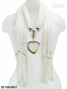 Wholesale Fashion Lady scarf jewelry with Pendant of Heart-shaped womens necklace scarves Cotton scarves, Free shipping, $4.62-5.70/Piece | DHgate