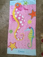 Pottery Barn Kids Seahorse Beach Towel 32 x 64 New without Tags- Gwen