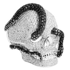 Theo Fennell white gold, black, grey and white diamond Archer Ring.