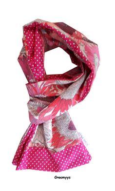 Foulard liberty susanna rose doublé fuchsia à pois : Echarpe, foulard, cravate par crocmyys