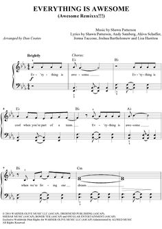 Everything Is Awesome (Awesome Remixxx!!!) Easy Piano Sheet Music Preview Page 1