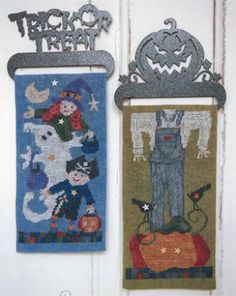 """""""Halloween Banners"""" is the title of this cross stitch pattern from SamSarah Studios and here is the link for the embellishment pack to add to your shopping cart."""