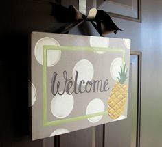 Pineapple Summer Welcome Canvas Sign by dreamcustomartwork on Etsy, $30.00