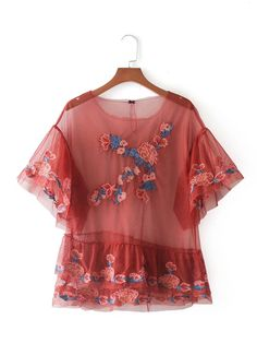 Embroidery Flower Tiered Mesh Blouse