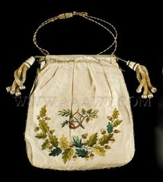 """Embroidered reticule. Silk embroidered on both sides. Minor breaks to silk. Dimensions: 9.5 by 8"""" (not tiny)"""