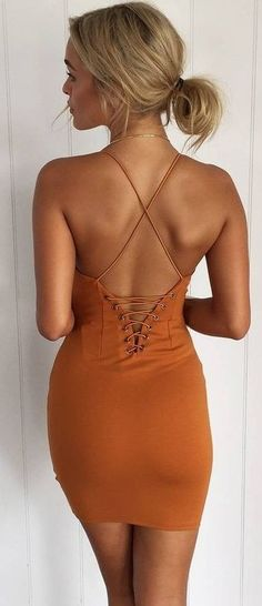 Back Details Camel Little Dress