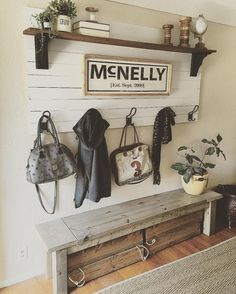 50 Stunning Farmhouse Entryway Decor Ideas November Leave a Comment A mudroom or entryway is generally a hall located between the front entrance of the house and the living area. It's a perfect place to organize storage for footwear Rustic Entryway, Rustic Decor, Entryway Hooks, Country Decor, Garage Entryway, Rustic Theme, Entryway Storage, Rustic Signs, Rustic Backdrop