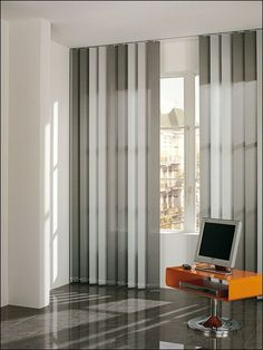 CORTINAS Office Curtains, Kitchen Curtains, Drapes Curtains, Office Wall Decor, Office Walls, Blinds For Windows, Patio Doors, Window Coverings, Cozy House