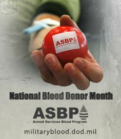 January is National Blood Donor Month. We celebrate our blood and platelet donors every day but step it up during this month. Join us in thanking them for saving lives every day of service members and their families worldwide. Thanks for joining the 'arms' race. #thankyoudonors #militaryblood #supportthemilitary