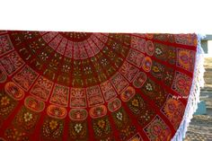 Red peacock round beach blanket roundie by TheFoxAndTheMermaid