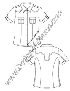 V50 Short Sleeve Western Shirt Flat Fashion Sketch Template
