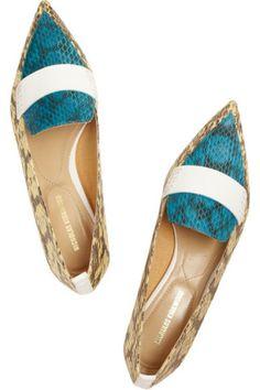 Nicholas Kirkwood|Leather-trimmed elaphe point-toe flats|NET-A-PORTER.COM
