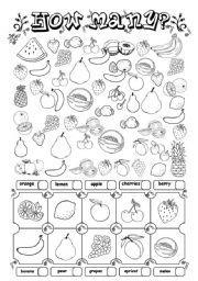 English worksheet: How many? (fruit)