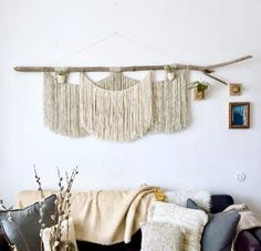 """XXL massive macrame wall hanging on driftwood log for above the couch or bed. Large, macro wall hanging. 72"""" x 38""""."""