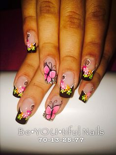 Only butterfly nail Cute Nail Art, Beautiful Nail Art, Cute Nails, Pretty Nails, My Nails, French Nail Designs, Nail Polish Designs, Nail Art Designs, Fabulous Nails