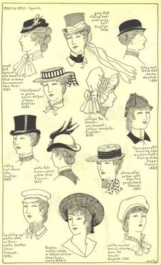 1890's women hats, sports. Inspiration for Rosa's hat.