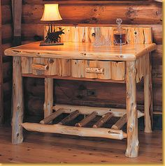 This is all I want.... cute little log desk for my office.  One day!  Actually would be fun to build it myself, but with little kiddos, we'll have to see!